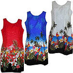 Cotton Short Tank Border Print Hawaiian Dresses