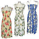 Rayon Short, Mid-Length and Long Hawaiian Spaghetti Tube Dresses