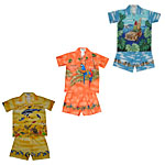 Toddler Boys Engineered Matched Front, Chest and Border Print Hawaiian Cabana Sets