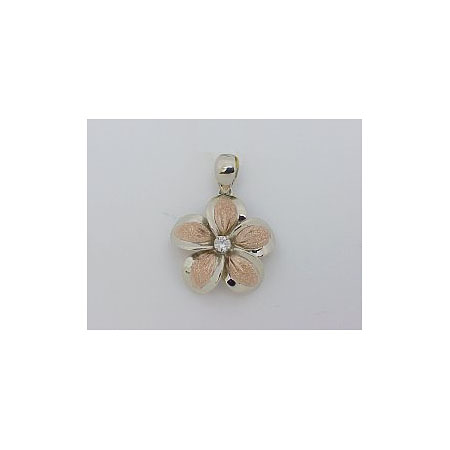 14k Gold Two-Tone Plumeria Hawaiian Pendant with Sand Finish 3.7g