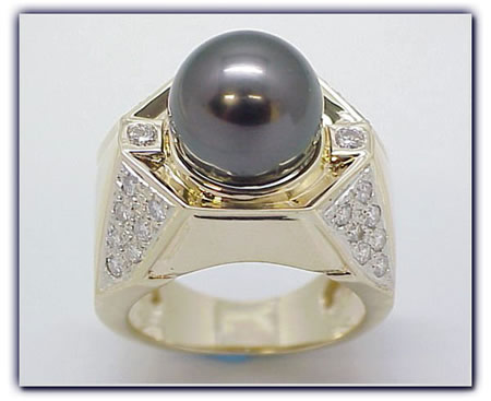 13mm Black Pearl Ring