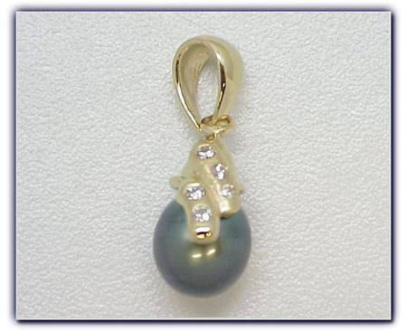 9.25mm Black Pearl Pendant