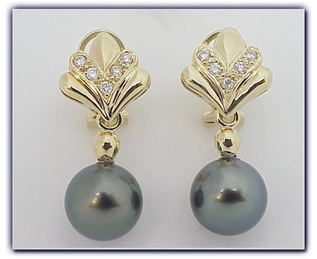 11.25mm Black Pearl Earrings