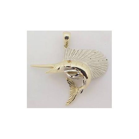 14k Gold Deluxe Two Tone Nautical Hawaiian Pendant  13g