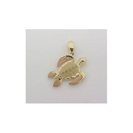 14k Gold Deluxe Two Tone Nautical Hawaiian Pendant 3.7g
