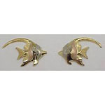 14k Gold Deluxe Three Tone Nautical Hawaiian Earrings 3.1g