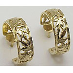 14k Gold Flowers Of Hawaii Post Hawaiian Earrings