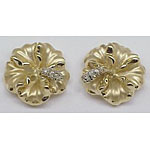 14k Gold Hibiscus Post Hawaiian Earrings 7.3g