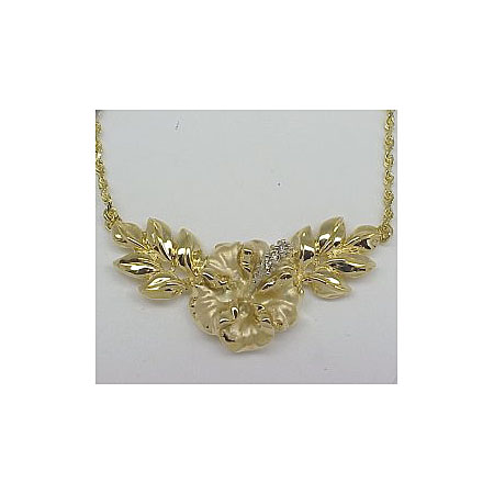 14k Gold Hibiscus Hawaiian Necklace 8.9g