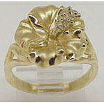 14k Gold Hibiscus Hawaiian Ring 5.8g