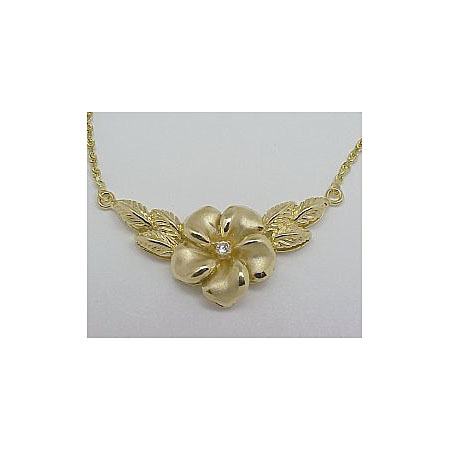 14k Gold New Plumeria Hawaiian Necklace 8.7g