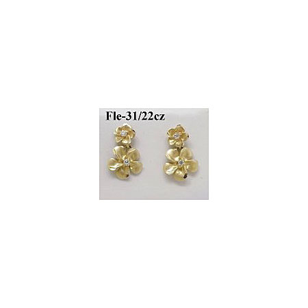 14k Gold Original Plumeria Earrings