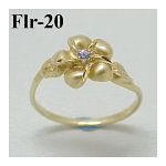 14k Gold Original Plumeria Hawaiian Ring