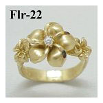 14k Gold Original Plumeria Hawaiian Ring 4.6g