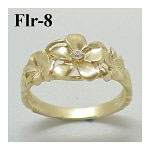 14k Gold Original Plumeria Hawaiian Ring 3.4g