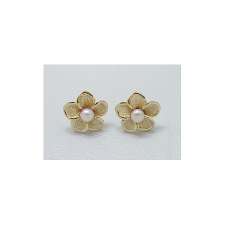 14k Gold Royal Plumeria Earrings