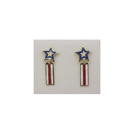 14k Gold Stars and Stripes Post Earrings