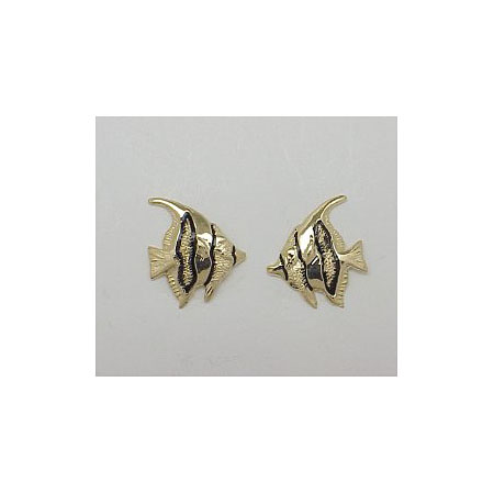 14k Gold Tropical Fish Post Earrings 2.1g
