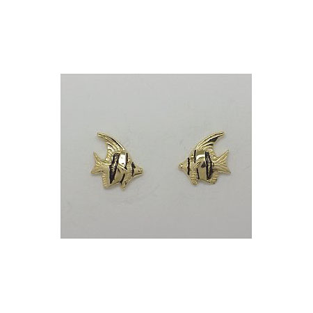 14k Gold Tropical Fish Post Earrings 1.8g