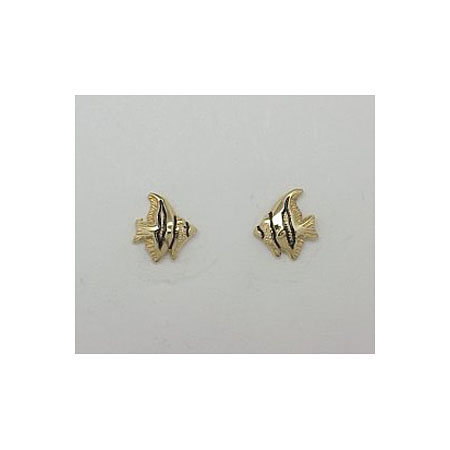 14k Gold Tropical Fish Post Earrings 1.2g
