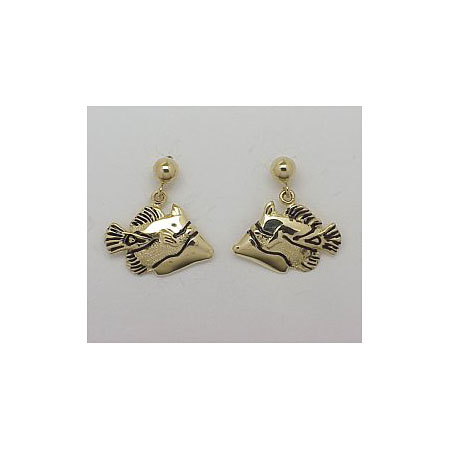 14k Gold Tropical Fish Post Earrings 2.9g