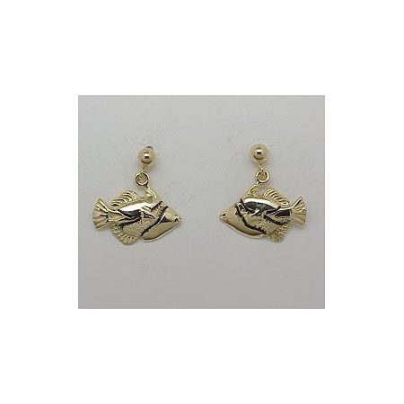 14k Gold Tropical Fish Post Earrings 2g