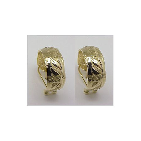 14k Gold Bamboo Hawaiian Hoop Earrings 8.5g