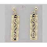 14k Gold Bamboo Hawaiian Post Earrings