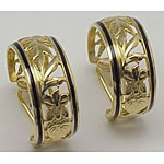 14k Gold Flowers Of Hawaii Hoop Hawaiian Earrings with Black Enamel Border