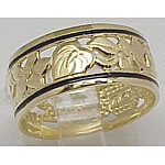 14k Gold Flower Of Hawaii Hawaiian Ring with Black Enamel Border 3.4g