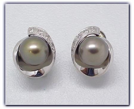 9mm Black Pearl Earrings