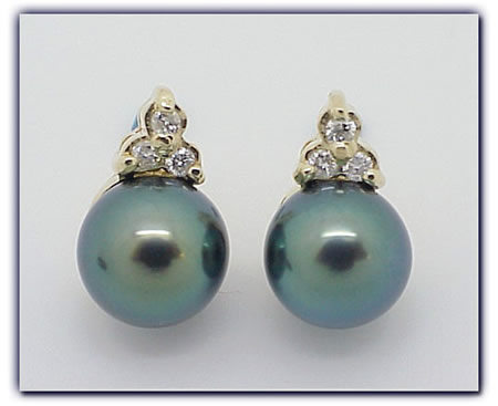8.75mm Black Pearl Earrings