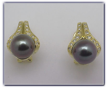 9.5mm Black Pearl Earrings
