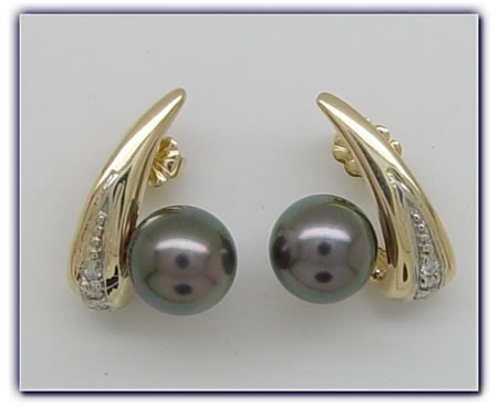 9.25mm Black Pearl Earrings