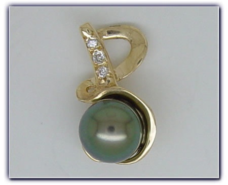 9mm Black Pearl Pendant