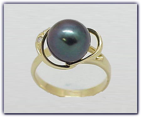 10mm Black Pearl Ring