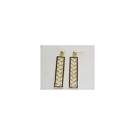 14k Gold Maile Hawaiian Dangle Earrings with Black Enamel Border