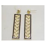14k Gold Maile Hawaiian Dangle Earrings with Black Enamel Border 7g