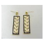 14k Gold Maile Hawaiian Dangle Earrings with Black Enamel Border 5g