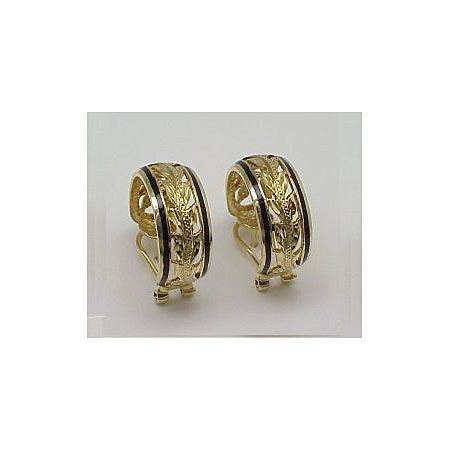 14k Gold Maile Hawaiian Hoop Earrings with Black Enamel Border 7.2g