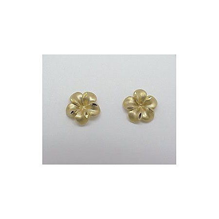 14k Gold New Plumeria Earrings 1.9g