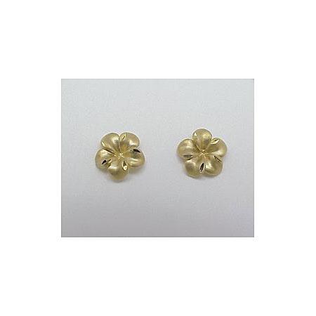 14k Gold New Plumeria Earrings 1 9g