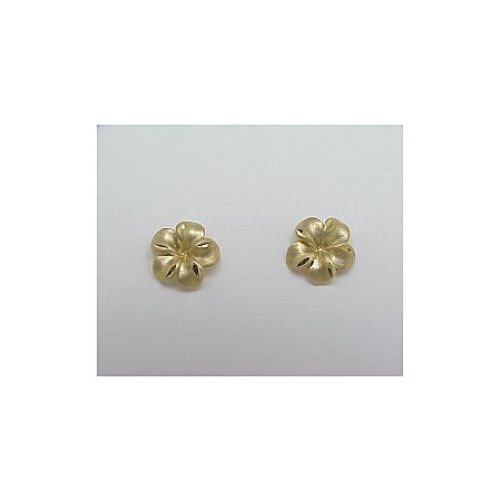 14k Gold New Plumeria Earrings 1.3g