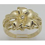 14k Gold New Plumeria Hawaiian Ring 4.5g