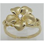 14k Gold New Plumeria Hawaiian Ring 3.9g