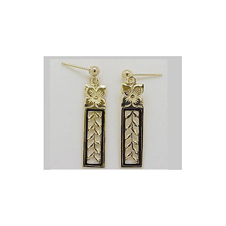 14k Gold Maile Hawaiian Post Earrings with Black Enamel Border 1.9g