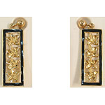 14k Gold Plumeria Hawaiian Dangle Earrings with Black Enamel Border