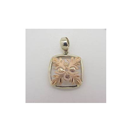 14k Gold Two Tone Quilt Hawaiian Pendant 2.3g
