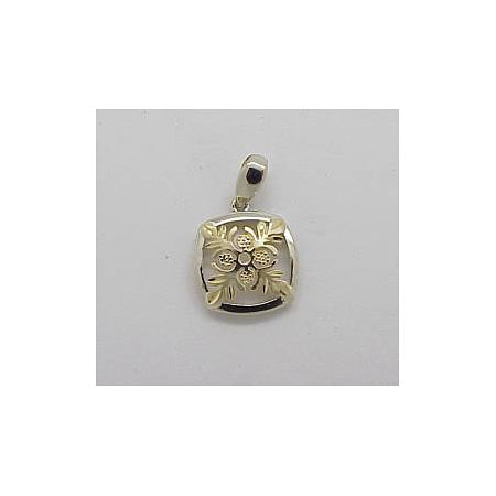 14k Gold Two Tone Quilt Hawaiian Pendant 1.5g