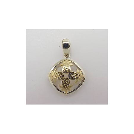 14k Gold Two Tone Quilt Hawaiian Pendant 1.6g